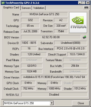 NVIDIA GeForce GTS 250, but