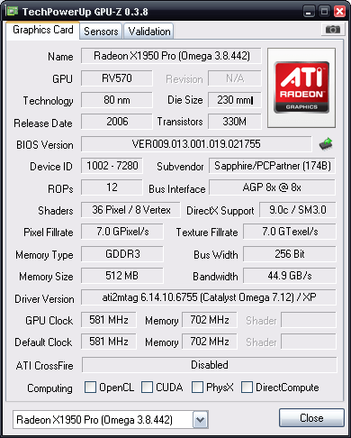 ATI X1950PRO AGP  cs 1.6 low fps