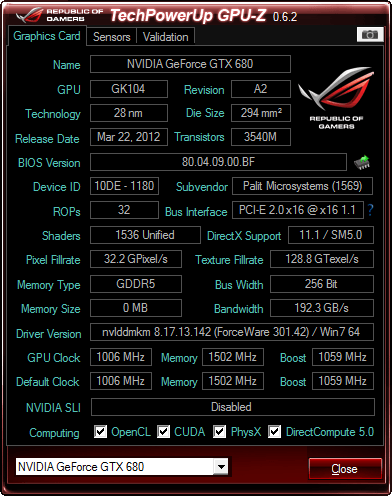 Gpuz showing 0mb with my gtx680 4gb? | Tom's Hardware Forum