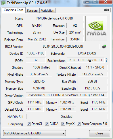 Evga Gtx 680 Classified Only Showing 2047mb Of Memory In