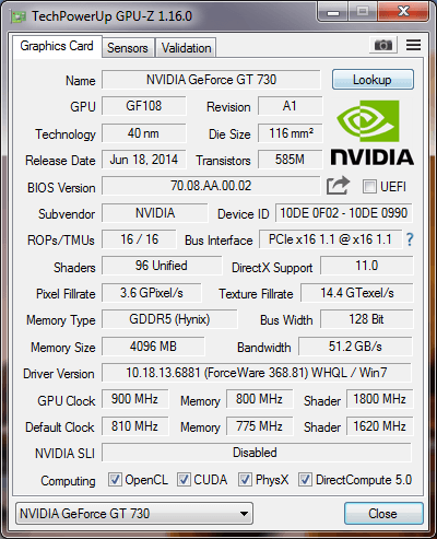 evga geforce gt 730 drivers