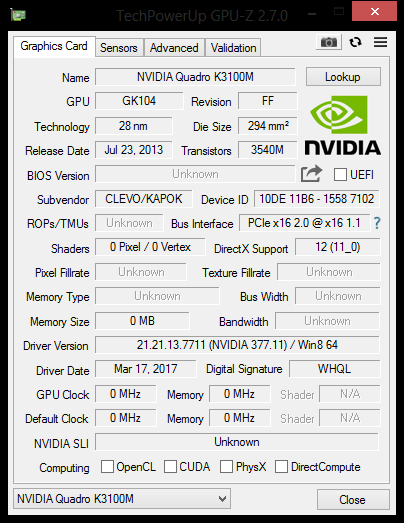 how do i get my nvidia k3100 to work with my sager clevo np9170